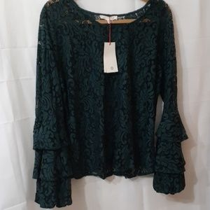 SOLITAIRE - ANTHROPOLOGIE BOHO LACE BLOUSE